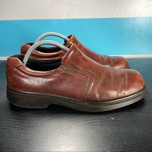 Ecco leather slip on loafers brown